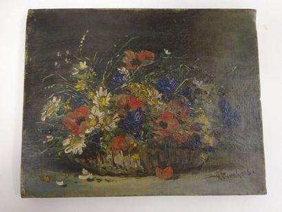 Eugene Henri CAUCHOIS (1850-1911)  Nature morte au bouquet de fleurs dans un panier....