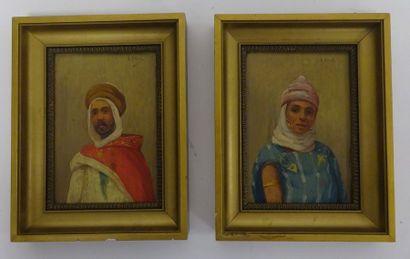 A. GILBERT (XIXème-XXème siècle)  Portrait d'un oriental et d'une orientale.  Deux...