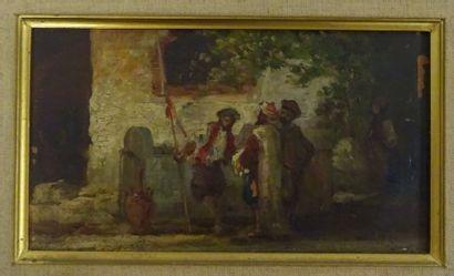 Auguste Maillet RIGON (1850-1884)  La rencontre avec un oriental.  Huile sur panneau....