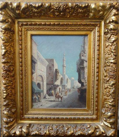 Lucien LAPEYRE (XIXème-XXème siècle)  Scène de rue orientaliste.  Huile sur toile....
