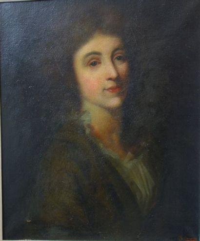 École de la fin du XIXème siècle  Portrait de femme en buste, de trois quarts.  Huile...