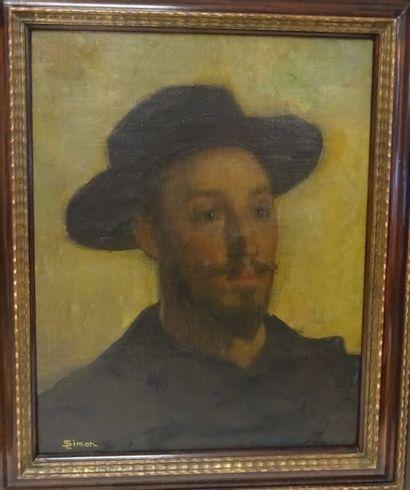 Lucien SIMON (1861-1945)  Portrait d'André Dauchez, au chapeau.  Huile sur toile...