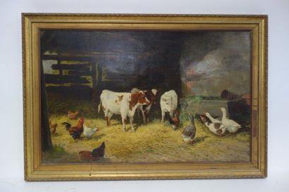 Claude CARDON (1864-1937)  Vaches, oies et poules dans une étable.  Huile sur toile....
