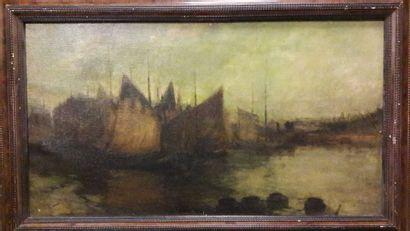 Chauncey-Foster RYDER (1868-1949)  Voiliers à quai.  Huile sur toile.  Signée en...
