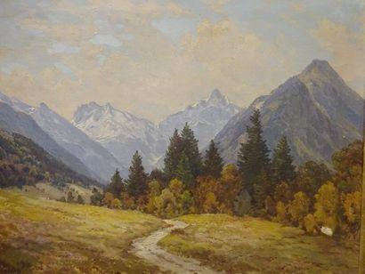 Carl BERTOLD (1870-?)  Chemin dans un paysage de montagnes.  Huile.  Signée.  80...