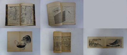 JAPON  Cinq albums :  - quatre d'estampes, certaines polychromes, avec personnage,...