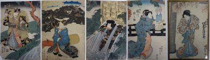 JAPON, fin du XIXème siècle  Ensemble d'estampes en couleurs.  Différents formats....