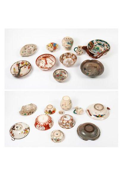 JAPON, Satsuma, XXème siècle  Trois bols, un petit broc, un pot à thé (sans couvercle)...