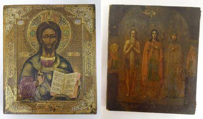 Deux icônes :  - Christ Pantocrator dans...