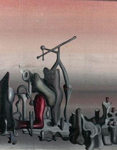 Yves TANGUY (1900-1955) La Couche sensible, 1933. Huile sur panneau. Signée, datée...