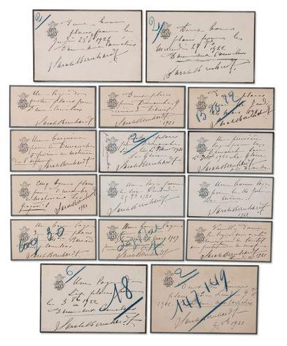 BERNHARDT SARAH (1862-1923) Ensemble de documents lettres, photographies, dessins,...