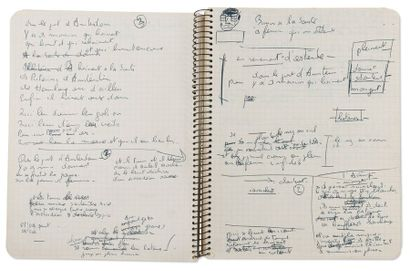 BREL JACQUES (1929-1978) Cahier autographe. Amsterdam. Les Timides. Manuscrits autographes...