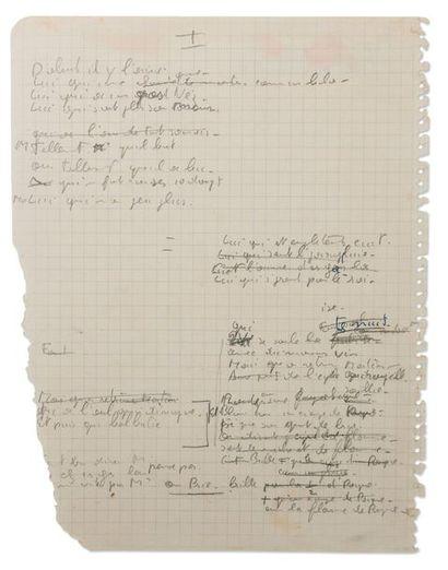 BREL JACQUES (1929-1978) Ces Gens-là. Manuscrit autographe complet au crayon [1965]....