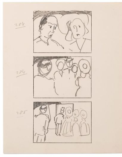 HITCHCOCK Alfred (1899-1980) Stage Fright (Le Grand Alibi) storyboard. Circa 1949....
