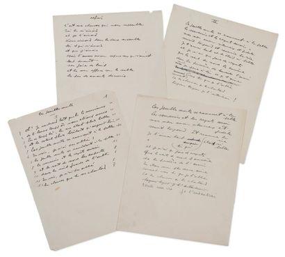 PREVERT Jacques (1900-1977) Les Feuilles mortes. Manuscrit autographe. 4 pages in-4,...
