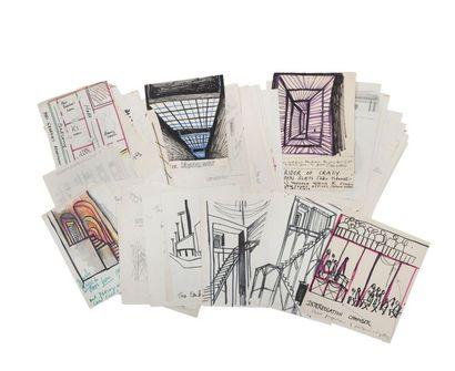 WELLES ORSON (1915-1985) Projets, notes et croquis pour les décors de son film «Le...