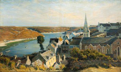André DAUCHEZ (1870-1948) Vue du village et du port de Sauzon, Belle-Île-en-Mer,...