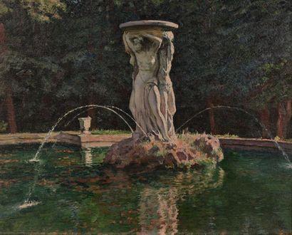 Théo Van RYSSELBERGHE (1862-1926) Pièce d'eau dans un parc, le matin, 1924. Huile...