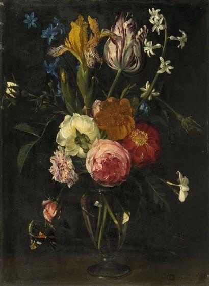 Daniel SEGHERS (Anvers 1590 - id.; 1661) Vase de fleurs sur un entablement. Huile...