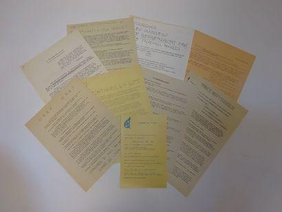 MAI 68  Lot de 9 tracts des mouvements étudiants,...