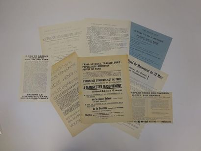 MAI 68  Lot de 8 tracts des mouvements étudiants,...