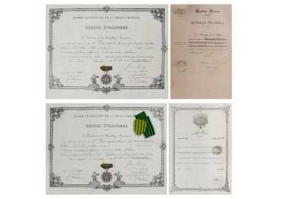 SOUVENIRS DU GENERAL Honoré PIERRUGUES (1849 - 1926)  Trois diplômes :  - de la...