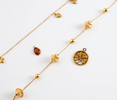 Lot en or jaune (750) comprenant :  - Bracelet...