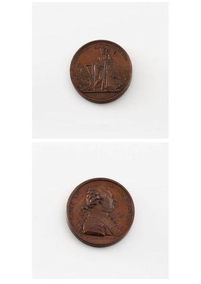Médaille en bronze, Louis XVI, 1789.  Diam....