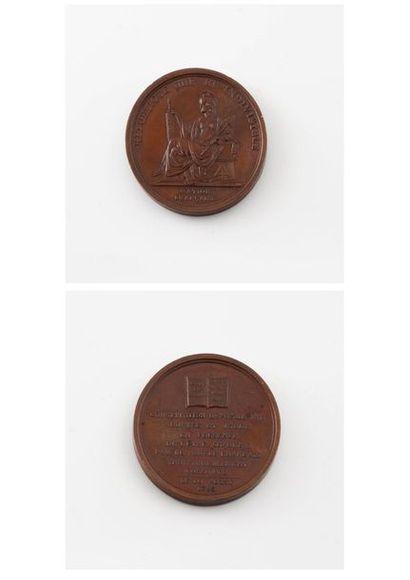 Médaille en bronze à patine brune commémorant...