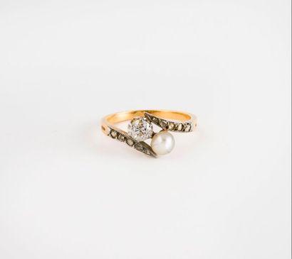 Bague toi et moi en or jaune (750) ornée...