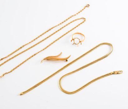 Lot de bijoux en or jaune (750) divers :...
