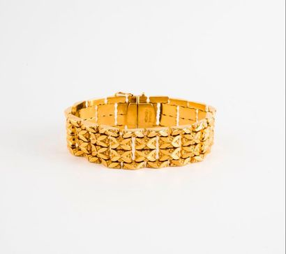 Bracelet bandeau souple en or jaune (750)...