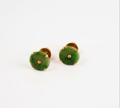 Paire de puces d'oreilles en or jaune (750)...