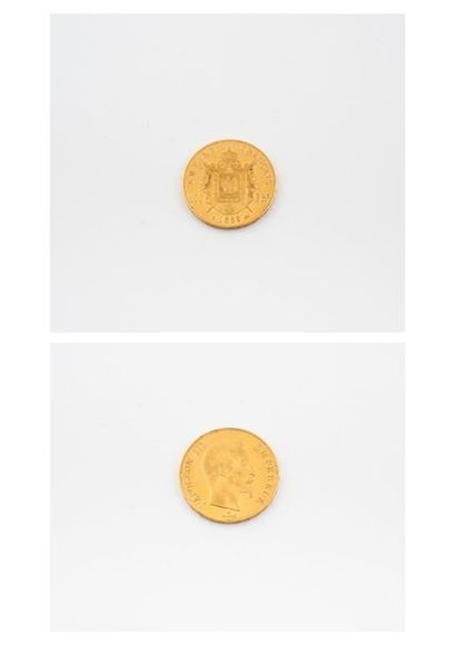 """FRANCE  Pièce de 100 francs or, Napoléon III """"Tête nue"""", 1859 Paris.  Poids : 32,2..."""