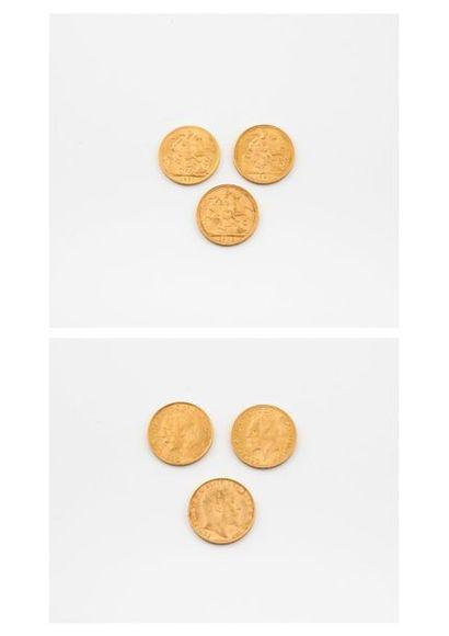 ANGLETERRE  Lot de trois souverains or :  - Edouard VII, 1908.  - Georges V, 1927...