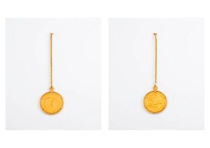 Médaille de MEXICO 1968 en or montée en porte - clefs, monture et chaîne en or jaune...