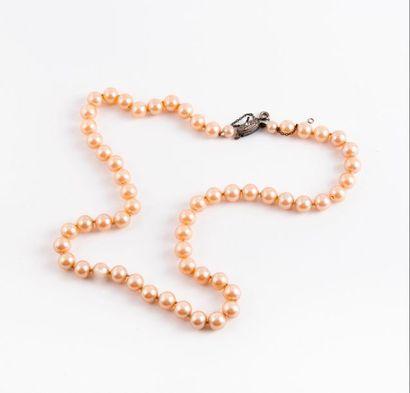 Collier de perles de culture choker roses....