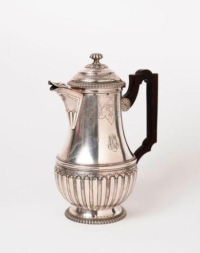 Cafetière sur piédouche en argent (950),...