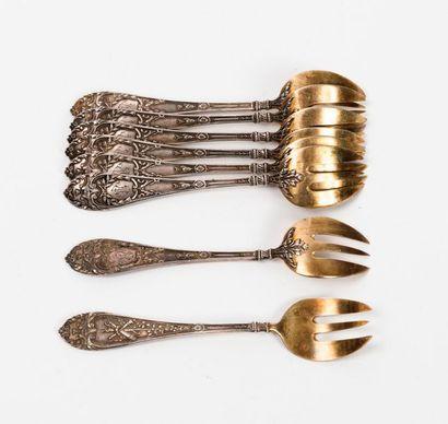 Huit fourchettes à huîtres en argent (925),...