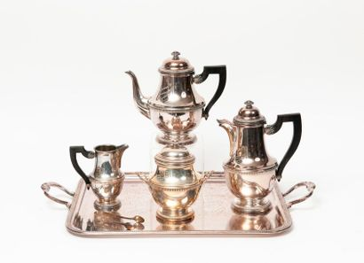 Service à thé et à café (4 pièces) en métal...