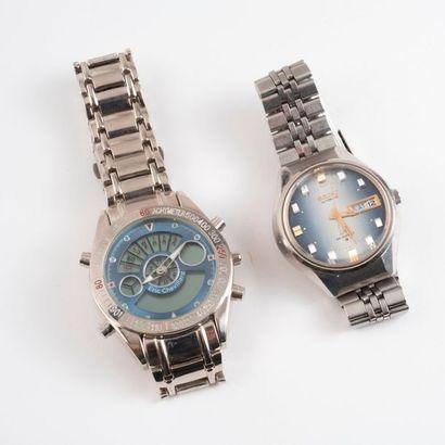 Deux montres bracelet d'homme en acier :...