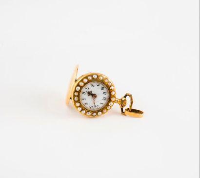 Petite montre de col en or jaune (750)  Couvercle...