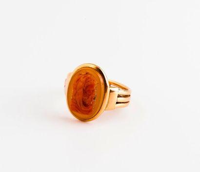 Bague formée de trois anneaux en or jaune...