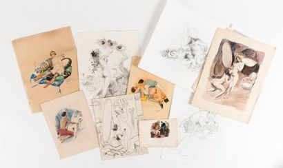 Lot de divers dessins et gravures à sujet...