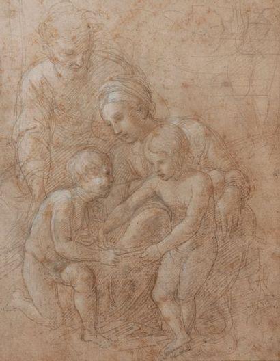 Attribué à Giovanni Francesco PENNI (Florence 1488-Naples 1528) La Sainte Famille...