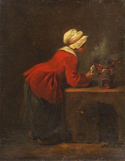 ATTRIBUÉ À JEAN-BAPTISTE CHARPENTIER (PARIS 1728-1806) 1 - Villageoise surveillant...