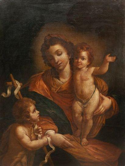 ECOLE ITALIENNE DU XVIIème SIECLE Vierge à l'enfant avec le petit saint Jean. Huile...
