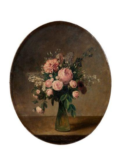 Attribué à Anne VALLAYER-COSTER (Paris 1774-id.; 1818) Vase de fleurs sur un entablement,...