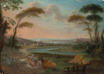 Ecole FRANCAISE du premier tiers du XVIIIème siècle Paysans dans un paysage lacustre....