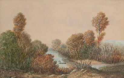 George SAND (1804-1876) Barque sur une rivière, à l'automne. Aquarelle. Signée et...